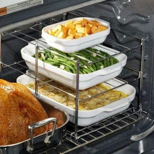 3 Katlı Ocak Rafı  Bu az yer kaplayan raflar sayesinde aynı anda birden fazla yemek pişirebilirsiniz.