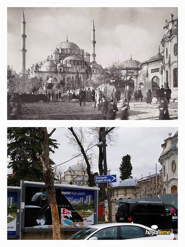 Aynı yerden yaklaşık 90 yıl sonra bakınca aynı manzarayı görememek. Tabelalar, arabalar, teller, direkler... Fatih