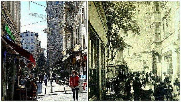 """100 yıl önce ve şimdi Beyoğlu.  <a href=  http://foto.mahmure.com/yasam/istanbul-semt-isimlerinin-anlami_39976 style=""""color:red; font:bold 11pt arial; text-decoration:none;""""  target=""""_blank""""> İstanbul Semt İsimlerinin Anlamı"""