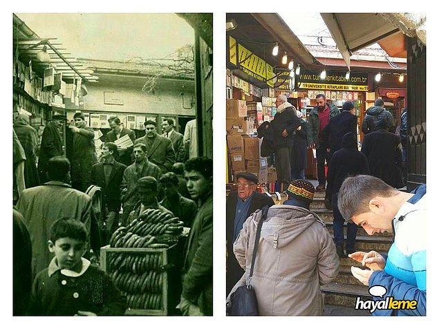 Yaklaşık 50 yıl önce ve şimdi Sahaflar Çarşısı.