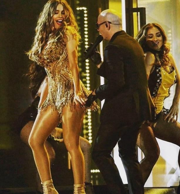 Sofia Vergara, Pitbull'la beraber sahne aldı.