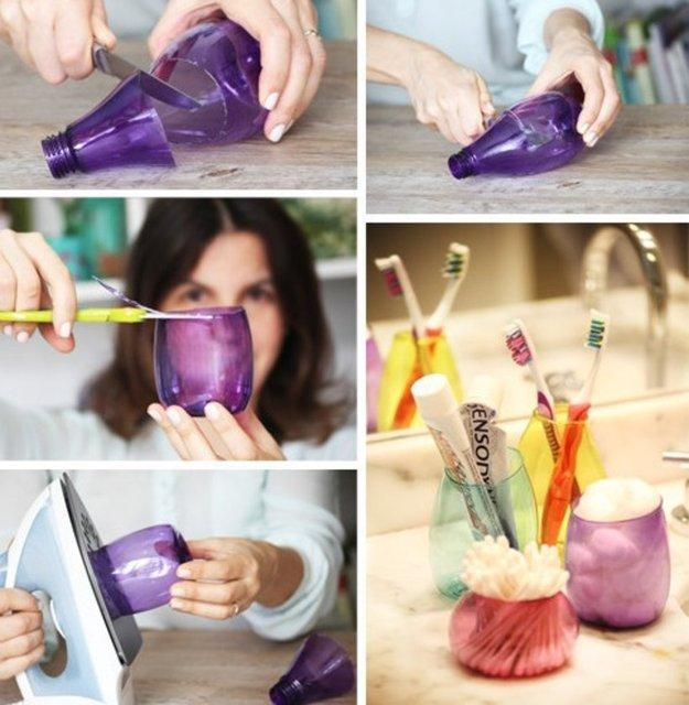 Plastik şişelerden dekoratif bardaklar...