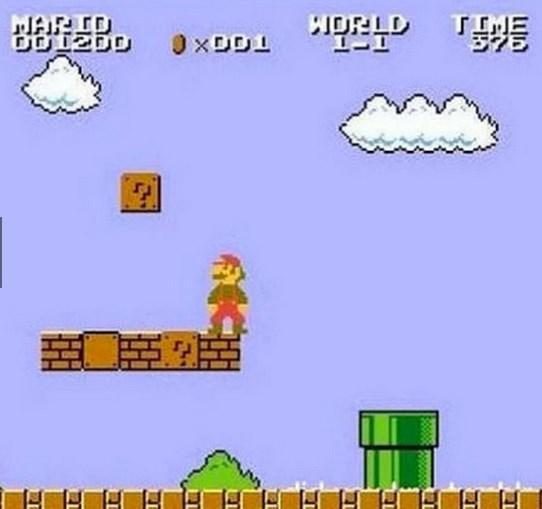 Süper Mario oyunundaki bulutlarla çalılar aynı şekillere sahiptir. Bulutlar beyaz, çalılar yeşile boyanmıştır.