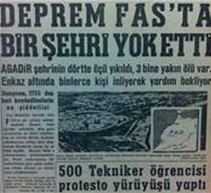 1960 - Fas'ta deprem: 3000'den fazla kişi öldü.