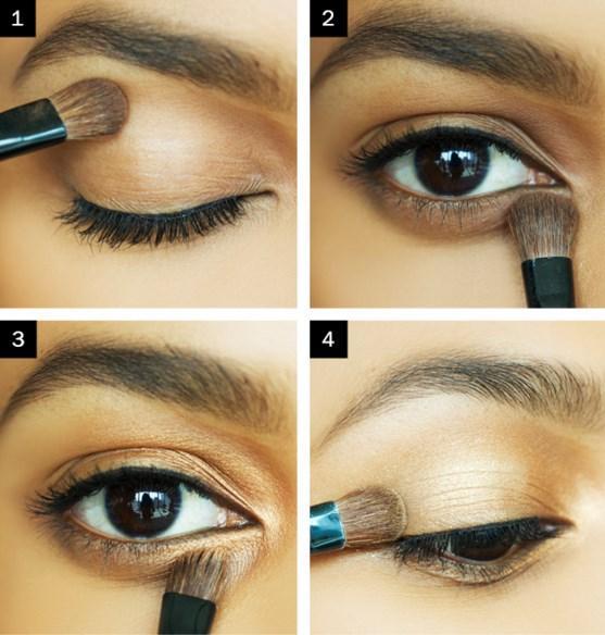 """Golden Wing Eyeliner Nasıl Yapılır ?  Adım 1: Fırça ile kahverengi göz farı uygulayın. Adım 2: Aynı fırça ile kirpik çizgisinin altında aynı gölge kullanın.<br  <a href=  http://foto.mahmure.com/guzellik/hollywood-makyozlerinden-kontur-yapma-tuyolari_40234/3#fotograf style=""""color:red; font:bold 11pt arial; text-decoration:none;""""  target=""""_blank""""> Hollywood Makyözlerinden Kontür Yapma Tüyoları"""