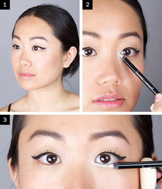 Beyaz Eyeliner Nasıl Yapılır? <br< Adım 1: Kalın bir eyeliner çizgisi çekin.  Adım 2: Üzerine ve köşelerine beyaz kohl uygulayın.