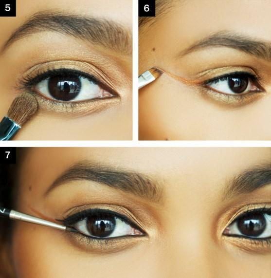 Adım 3: Fazla pigment almak için Islak fırça ile uygulama yapın. Adım 4 ve 5: Göz kapağından  dışa doğru hareket merkezinden başlayarak, kapağında ve göz altında dışa doğru pırıltılı bej gölge uygulayın.