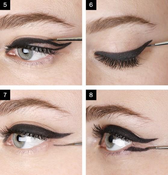 Adım 3: Göz altınızdan ikinci kanat oluşumu için siyah kalem çekin.
