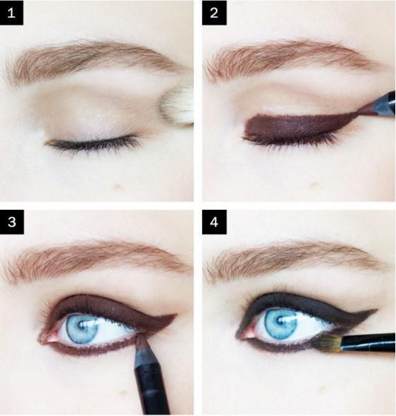 Brigitte Bardot Göz Makyajı  Adım 1: Dışarıya doğru ve kanat şeklinde mat açık kahverengi gölge uygulayarak başlayın. Adım 2: Sonra  bir göz kalemi kullarak kalın kanat kapağınından bir hat çizin. Hat mükemmel olması gerekmez. Adım 3: Ardından, aynı göz kalemi kullanarak iç köşesine etrafında outter köşeden tüm yol üst kanadı bağlayın.
