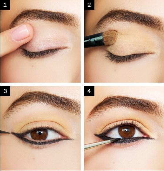 Ters Kanat Eyeliner Makyajı Nasıl Yapılır?  Adım 1: Göz kapaklarının bir parmakü üzerine hafif sarımtrak far sürün. Adım 2: Sonra, kırışık kirpik çizgisine mat göz farı sürerek rengini belirginleştirin.