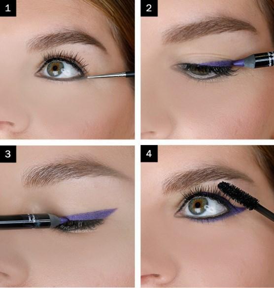 Koyu Mor Eyeliner Makyajı Nasıl Yapılır?  Adım 1: Gözünüzün üzerinden ve altından siyah jel eyeliner ile çerçeveleme işlemi yapın. Adım 2:  Mor eyeliner , üst kapaktan ve alt kapaktan başlayarak birleştirin.