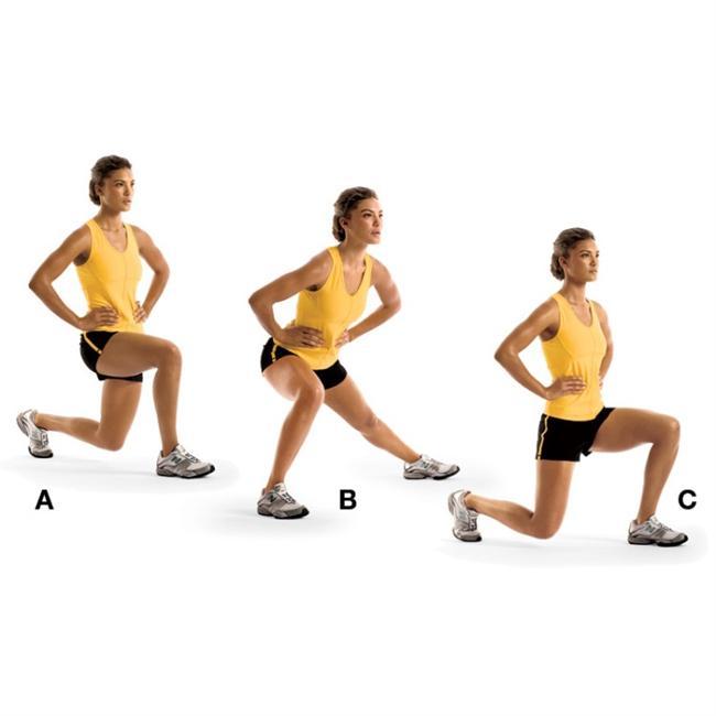 CLOCK LUNGE  Kalça ve dizleri çalıştırıyor.  Ellerini kalçana koyarak sağ bacağınla öne doğru hamle yap, sağ dizini 90 derece kırmalısın (A).  Pozisyonu koruyarak sağa doğru büyük bir adım at ve tekrar hamle yap (B).  Geriye doğru adım atarak sağ bacağınla arkaya hamle yap (C).  10 kez tekrar edip hareketi sol bacakla da uygula.  İpucu: Hareketleri yaparken boynun omurgayla aynı hizada olmalı.