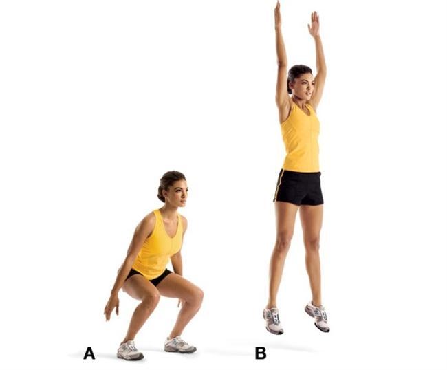 SQUAT JUMPS  Kalça, diz ve baldırları çalıştırıyor.  Bacaklarını omuz genişliğinde açarak ve dizleri 90 derece kırarak çömel (A).  Kollarını yukarı kaldırıp zıplayabildiğin kadar yukarı zıpla (B).  Yere inerken dizleri hafifçe kırıp çömel. 10 kez tekrar et.  İpucu: Hareketi yaparken kolları kullanmak sana hareket kazandıracak.