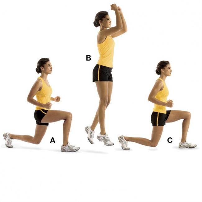 LUNGE JUMPS  Kalça ve bacakları çalıştırıyor.  Bacaklarını birbirine bitiştirerek dirseklerini 90 derece kır. Sağ bacağınla öne doğru hamle yap (A).  Tekrar ayağa kalkarken kollarını yukan kaldır, dirsekler hâlâ bükülü olmalı. Havadayken bacakların pozisyonunu makas gibi değiştir (B).  Yere inerken sol bacağınla öne doğru hamle yap (C). Sol bacakla başlayarak tekrarla. 10 defa uygula.  İpucu: İncinmemek için yere yumuşak inişler yapmalısın.