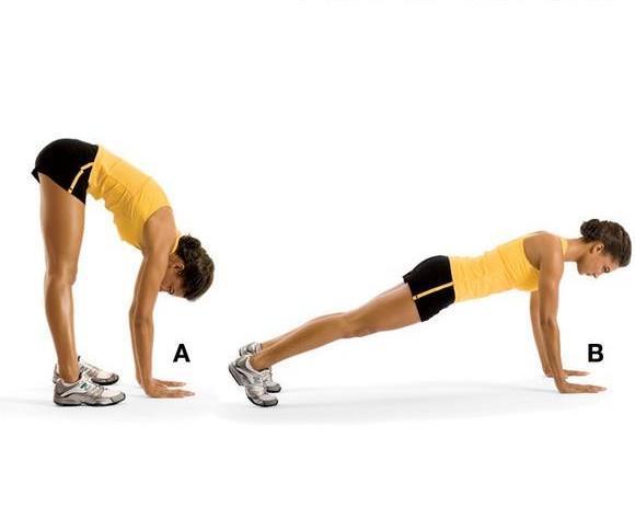 INCHWORM STRETCH  Sırt ve dizleri çalıştırıyor.  Bacaklarını kalça genişliğinde açarak yavaşça eğil, dizlerin mümkün olduğunca düz olmalı. Eller yere dokununca ayaklardan 8-12 mesafe uzak olmalı (A).  Ellerinle ileri doğru yürüyerek sınav pozisyonuna geç (B).  Sonra ellerinle tekrar geri geri git. Sekiz tekrarlık iki set yapmalısın.  İpucu: Vücut, topuklardan başına kadar dümdüz olmalı.