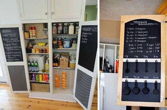 Kara tahta sadece okulda olmaz ki...  Mutfakta unutulan en önemli şeylerden biri tarifler ve alışveriş listesidir. Bu sorun için de bir dolabınızın içini kara tahta yapabilirsiniz. Aynı şekilde bazı aletleri asmak için de kullanabilirsiniz.