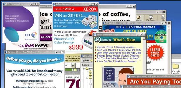 Pop-up reklamları: Yanıp sönen reklamlar, flash bannerlar, şarkı söyleyen reklamlar. Web tarayıcıları ilk kez 2000'lerin başında pop-up reklamlarla tanıştığında internetteyken reklamlardan kaçmak imkansız bir şeydi. İnternet siteleri para kazanmak için bu taktiğe çok sık başvuruyordu. Pop-up engelleyiciler kısa süre içinde icar edilse de hala ne olacağını bilemiyorsunuz. Yanlış bir yere tıklayıp bir yığın pop-up açmak ya da ekranınızı dondurmak da var.