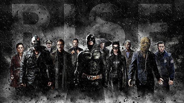 Kara Şövalye Yükseliyor (2012)  Terörist lider Bane'nin yaptığı gizli planları durdurmaya bu sefer ne Bruce Wayne'nin ne de Batman'in gücü yeter. Kedikadın Selina Kyle'ı da kendi safına çeken Bane, Gotham kentini ve halkını ciddi bir tehditle karşı karşıya bırakacaktır. Ne yerel kuvvetler, ne kahraman Jim Gordon ne de ordu olacakların önüne geçemez. Batman ilk kez kendisinden daha güçlü bir rakibe karşı mücadele verecektir.