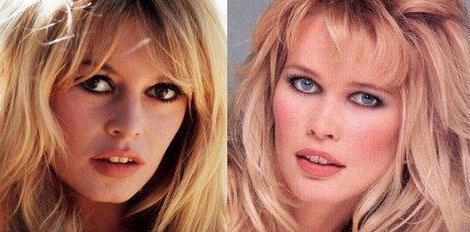 Bardot (solda) ile Claudia Schiffer benzerliğini vurgulayan bir başka poz daha.