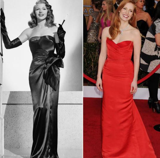 Jessica Chastain'in zarafeti Rita Hayworth'ı hatırlatıyor.