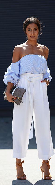 Beyaz Bol Paça Bayan Pantolon Modelleri