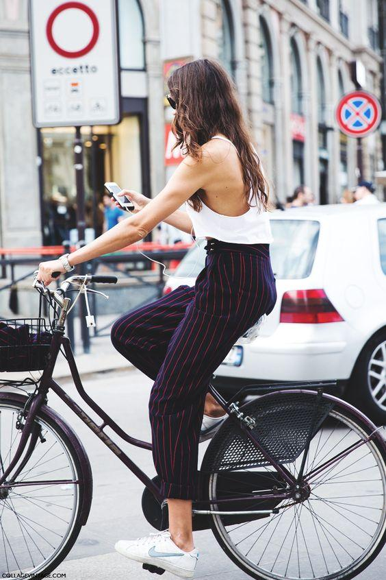 Çizgili Bol Paça Bayan Pantolon Modelleri