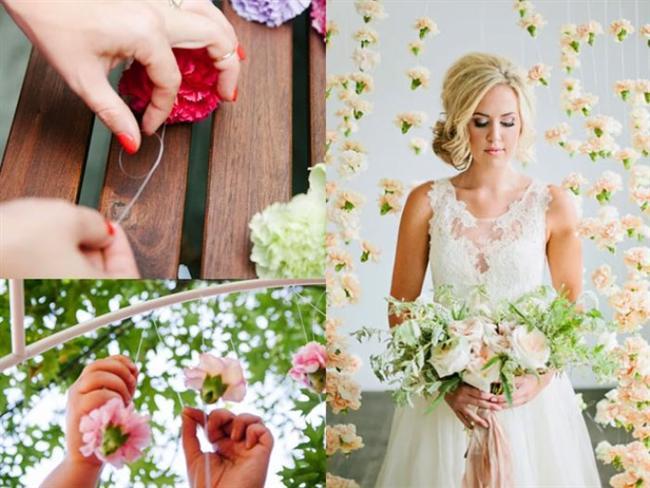Gelin masasının arkasına ya da fotoğraf köşesine baharı getirmesek mi?  Bahar en güzel düğün mevsimi olabilir. Çiçeklerle bir perde yapıp fotoğraflara da mükemmel bir hava katmaya ne dersiniz? Misina ve mis kokulu karanfiller size yardımcı olacaklardır. Dikkatlice karanfillerin saplarını kesin. Daha sonra misinadan geçip bir ağaç dalına ya da metal boruya asın.