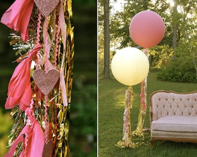 Kocaman balonlar herkesi mutlu eder!  Balonu kim sevmez heleki süslüyse... Bu balonları dilerseniz en ince tül ile dilerseniz farklı mat ve pastel tonlardaki kumaşlarla kaplayıp kuyruklarına dilediğiniz şekilde kurdeleler ve ahşaplarla süsleyebilirsiniz.
