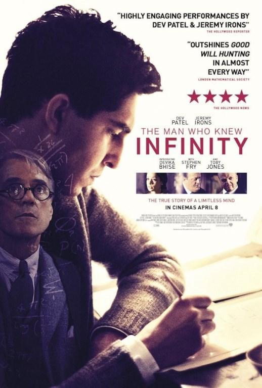 İNFİNİTY   Hindistan'ın Madras kentinde yoksulluk içinde büyüyen Srinivasa Ramanujan Iyengar, İkinci Dünya Savaşı sırasında Cambridge Üniversitesi'ne giriş hakkı kazanır. Profesör G. H. Hardy rehberliğinde, Iyengar matematiksel teorinin öncülerinden olacaktır. Filmde gerçekte yaşamış olan matematikçi Srinivasa Ramanujan Iyengar'ın gerçek hikayesi anlatılıyor. Matt Brown'un yönettiği ve senaryosunu yazdığı filmin oyuncu kadrosunda Jeremy Irons, Stephen Fry, Dev Patel gibi isimler bulunmakta