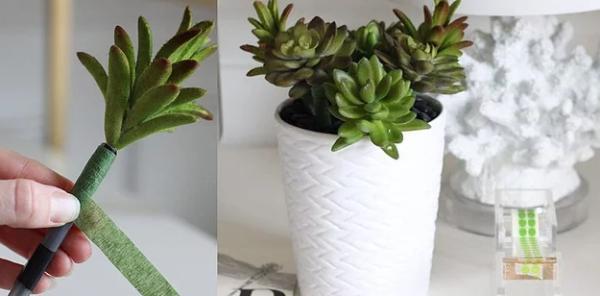 Ofiste sürekli çalınan kalemlerinize son!  Ofis masanızda hem değişiklik hem pratiklik istiyorsanız minik bir değişim yapmanız gerekiyor. Skulent ya da başka bir çiçeği kalemlerin tepesine yerleştirin ve genişçe bir saksıyı kalemlik yapın.