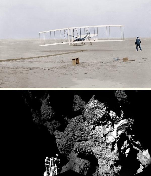 Wright Kardeşler tarafından ilk defa uçakla gerçekleştirilen insanlı uçuş 1903 / Rosetta kuyruklu yıldızına inen uzay aracı 2014