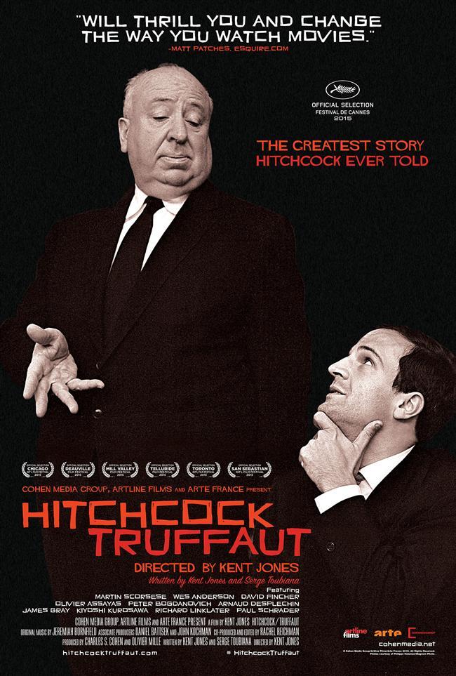 """Hitchcock/Truffaut  Yönetmenliğini Kent Jones'un üstlendiği iki usta yönetmen Alfred Hitchcock ve Francois Truffaut'nun altın değerindeki buluşmasını konu edinen Hitchcock/Truffaut belgeselinde günümüzün ünlü yönetmenleri bu iki ustanın sinemalarına kattıklarını anlatıyor. Truffaut´nun Hitchcock´la 3 gün boyunca yaptığı söyleşiden derlediği, 1966 yılında yayımlanan kitabı Hitchcock´a Göre Sinema'dan ilham alıyor. Yönetmen Jones ise günümüzün büyük yönetmenlerine: """"Bu kitap sinemaya bakışınızı nasıl etkiledi?"""" sorusunu yöneltiyor. Fincher, Schrader, Scorsese, Assayas, Bogdanovich ve pek çok isim, yılın heyecanla beklenen belgeselinde iki büyük yönetmene saygı duruşunda bulunuyor."""