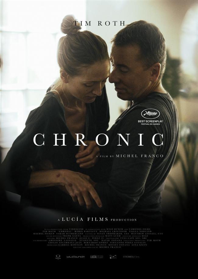 Kronik  Meksikalı yönetmen Michel Franco'nun hem yönetmenliğini hem senaristliğini üstlendiği Kronik, prömiyerini yaptığı Cannes Film Festivali'nden En İyi Senaryo ödülüyle ayrıldı. Filmin başrollerinde başarılı oyuncu Tim Roth, Bitsie Tulloch ve David Dastmalchian yer alıyor. Kronik, Tim Roth'un canlandırdığı, bir bakımevinde ölüm döşeğindeki hastalarla ilgilenen bir erkek hemşirenin hikayesine odaklanıyor. Bu keskin dram, Meksikalı yönetmen Michel Franco'nun 2012'de Cannes'da Belirli Bir Bakış bölümünün galibi olan benzersiz Lucia'dan Sonra filminden sonraki ilk çalışması.