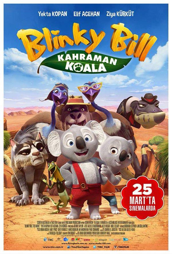 Blinky Bill: Kahraman Koala  Genç ve maceraperest bir koala, Avusturalya'nın gün görmemiş vahşi doğasında bir yolculuğa çıkar. Amacı ise kayıp babasını bulmaktır.Bill'in en büyük hayali küçük bir kasaba olan Green Patch'den ayrılıp kaşif babasının izinden gitmektir. Yolda tanıştığı Nutsy ve asabi bir yakalı kertenkele olan Jacko'yla çabucak kader arkadaşı olular. Fakat macerasında yol aldıkça beklemediği yeni hikayelerle karşılaşacaktır. Bakalım Blinky ve arkadaşları Avustralya'nın gün görmemiş vahşi ormanlarında geçen yolculuk sırasında  hayatta kalmayı becerebilecekler mi? Yönetmenliğini Deane Taylor'ın üstlendiği filmin orjinal seslendirme kadrosunda ise Ryan Kwanten, Toni Collette, David Wenham ve Rufus Sewell gibi isimer yer alıyor. Türkçe seslendirme ekibinde Yekta Kopan, Elif Acehan ve Ziya Kürküt yer alıyor.