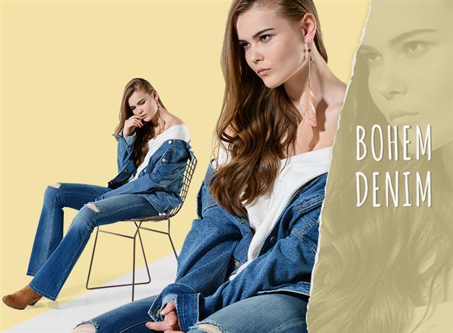 Bohem Denim  Bohem modası hiç geçmiyor, İspanyol paça jeanle şimdinin trendi omzu açık trikoyu kombinleyerek siz de çağa ayak uydurun.