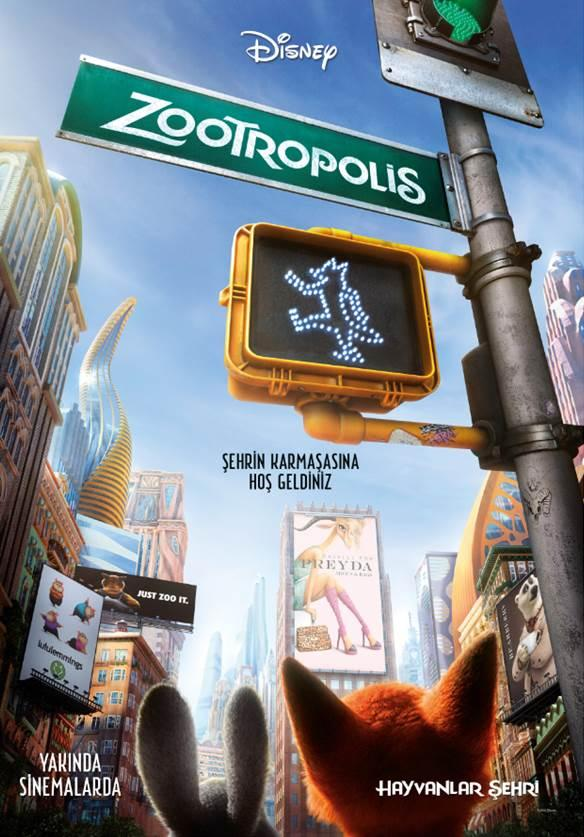 Zootropolis: Hayvanlar Şehri  Karmakarışık ve Bolt gibi sevilen animasyon filmlerinin yönetmeni Byron Howard'ın perdeye taşıdığı Zootopia, medenileşmiş ve teknoloji kullanabilen hayvanların bir arada yaşadığı bir şehirde yaşanan ilginç bir polisiye öyküsünü perdeye taşıyor. Alışıldık Disney havasının solunacağı filmde; konuşkan tilki Nick'in, üzerine yığılmaya çalışan bir suçtan sıyrılma çabası anlatılıyor. Modern memelilerin yaşadığı Zootropolis adındaki metropolis, lüks Sahra Meydanı'ndan, soğuk Tundra Kasabası'na kadar bir çok farklı doğal ortamın ve hayvanın bir arada yaşadığı benzersiz bir şehirdir. Burası bir fil kadar büyük ya da bir arı kadar küçük olanların bile istediği her şeyi yapabileceği türden bir yerdir. İyimser Polis Memuru Judy Hopps buraya geldiğinde, büyük ve sert mizaçlı hayvanların olduğu bir yerde polis olmanın hiç de kolay olmadığını fark eder. Kendini ispatlayabilme fırsatını elde edebilmek için, geveze ve numaracı tilki Nick Wilde ile ortak olma pahasına önemli ve gizemli bir olayı çözmeye çalışacaktır. Filmin seslendirme kadrosunda Ginnifer Goodwin, Jason Bateman, Idris Elba, J.K. Simmons, Octavia Spencer yer alıyor.