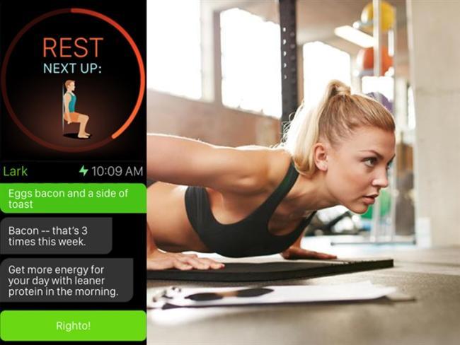 7 Minute Workout  Koçluk desteği ve görsel ipuçlarıyla yedi dakikalık egzersizler.  Lark  Dikte kullanılarak sohbetle beslenme ve egzersiz koçluğu.