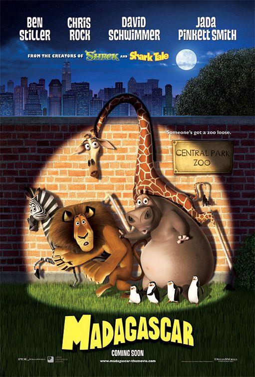 Madagascar – Madagaskar – 2005   Newyork Hayvanat Bahçesi sakinleri Zebra Marty, Aslan Alex, Hipopotam Gloria ve Zürafa Melman hayatlarından son derece memnundur. Ancak bir gün Marty dış dünyada neler olduğu, neleri kaçırdığı konusunda büyük bir merak duyup hayvanat bahçesinden firar eder. Arkadaşları için endişelenen kahramanlarımız ise onu bulmak için kendilerini Newyork sokaklarına atarlar. Amaçları bir an önce geri dönmektir fakat hiç beklenmedik şekilde kendilerini evden çok ama çok uzaklarda bulacakları bir maceranın içine düşerler!