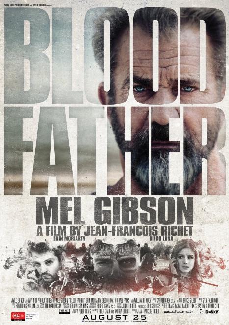 Kan Bağı - Blood Father  Eski bir mahkum olan John Link (Mel Gibson) yaşamını tek başına bir karavanda sürdürmekte, dövmecilik yaparak geçinmektedir. Tek akrabası olan 16 yaşındaki kızı Lydia'yla (Erin Moriarty) yıllardır görüşmemiştir. Ancak kızı, erkek arkadaşının yüzünden başını uyuşturucu çeteleriyle belaya sokmuştur. Yıllar önce yaptığı hataları düzeltme şansı Link'in eline geçmiştir, artık kızını öldürmeye çalışan uyuşturucu satıcılarına karşı onu ne pahasına olursa olsun koruyacaktır.