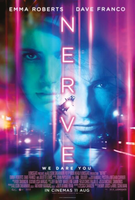 """Oyun – Nerve  Lise son sınıf öğrencisi Vee (Emma Roberts) Nerve adlı, doğruluk cesaret oyununun sadece cesaret kısmının yer aldığı bir sanal gerçeklik oyununa katılır. Ancak zaman geçtikçe iş oyun olmaktan çıkar, nitekim hareketlerinin oyunun """"izleyenleri"""" tarafından manipüle edildiğini fark edecektir."""