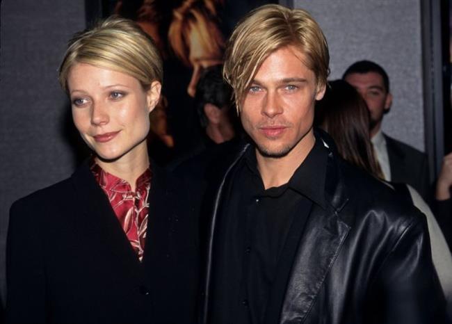 """Bir sinema klasiği olan Se7en filminin setinde tanışıp aşık olan Brad Pitt ve Gwyneth Paltrow, ilişkilerini hep göz önünde yaşadılar.  1996 yılında güzel oyuncuya evlenme teklif eden Brad, aynı yılki Altın Küre Ödülleri'nde ona """"meleğim"""" ve """"hayatımın aşkı"""" gibi hitaplarda bulunmuştu. Ne yazık ki sette başlayan bu mutlu aşk da çok uzun sürmedi ve çift, 7 ay sonra nişanı bozdu."""