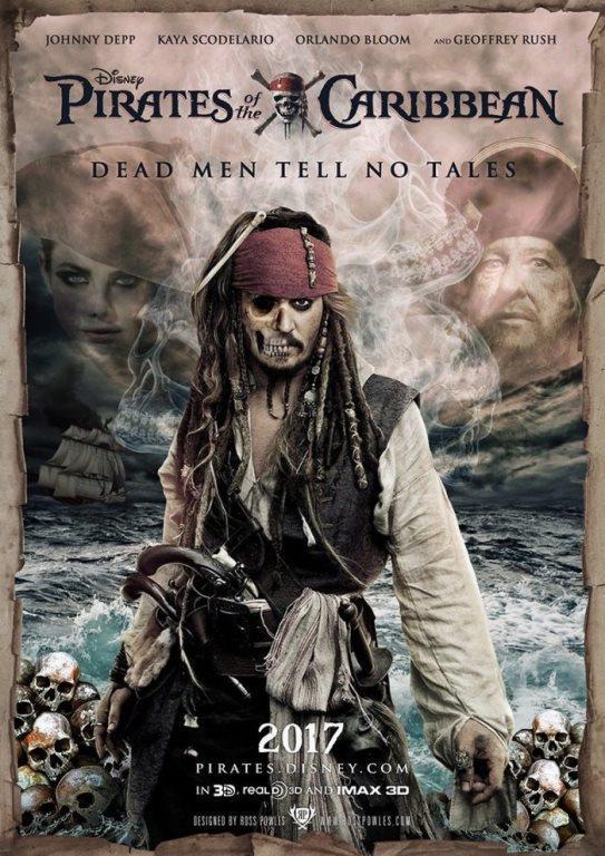 Pirates of the Caribbean: Dead Men Tell No Tales  Karayip Korsanları: Ölü Adamlar Masal Anlatamaz,Karayip Korsanları film serisinin beşinci filmi olan fantastik türdeki 2017 Amerikan yapımı film. Filmin yönetmenliğini Joachim Rønning ve Espen Sandberg yaparken senaryosunu Jeff Nathanson yazdı. Filmin yapımcısı diğer dört filmde olduğu gibi Jerry Bruckheimer oldu. Filmin oyuncu kadrosunda, Johnny Depp; Jack Sparrow, Javier Bardem; filmin kötü rolünde, Kaptan Salazar, Orlando Bloom; Will Turner, Brenton Thwaites; Henry Turner, Kaya Scodelario; Carina Smyth, Kevin McNally; Joshamee Gibbs ve Geoffrey Rush; Kaptan Barbossa rolünde yer almaktadır.