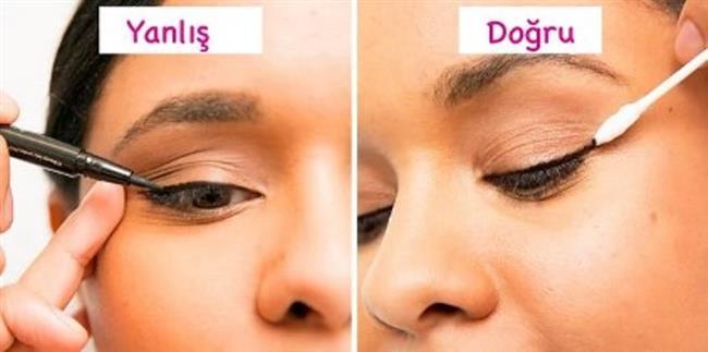 15. Eyeliner sürerken gözü çekiştirmek  Yapılan bu yanlış, vücudumuzun en hassas deri bölgesine sahip olan göz çevresinin elastikiyetini kaybetmesine neden olur. Onun yerine eyeliner göz çekiştirilmeden sürülmeli; istenilen kuyruk, kulak temizleme çubuğu yardımıyla verilmeli.
