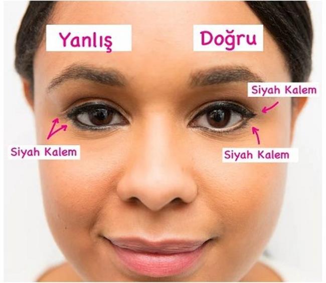 16. Koyu renk göz kalemini göz pınarlarına sürmek  Hem gözü küçük gösteriyor hem de kirli bir görünüme neden oluyor. Tam tersi bir etki yaratmak istiyorsanız, tercihinizi nude olandan yana kullanın!