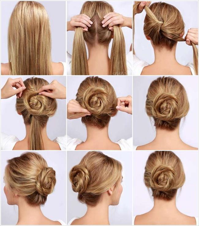 Şık bir gece için süper bir fikir olabilecek dağınık ve alttan topuz kolay saç modellerimizden biri.