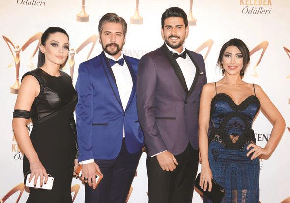 """En iyi gündüz kuşağı programı seçilen """"Kısmetse Olur""""un yarışmacıları Adnan, Didem, Semih ve Hazal, törene hep birlikte katıldı."""