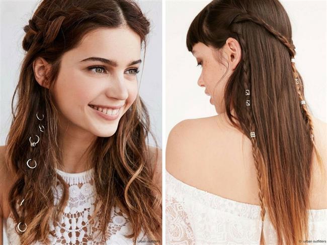 Saç yüzükleri genelde örgü modellerinde kullanılan saç piercinglerini. farklı saç modelleri ve tarzlarda birleştirirseniz trend bir görünüm kazanabilirsiniz.