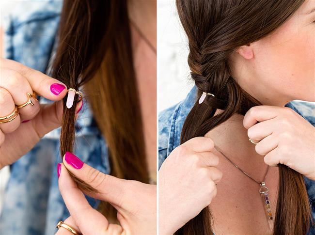 Kullanımı fotoğrafta gördüğünüz gibi kolaylıkla uygulayabilirsiniz. Hem açık saça hem de toplu saç modellerine çok yakışan saç piercingini yarım topuz modellerine ekleyeceğiniz bir örgü ile saçlarınızı süsleyebilirsiniz.