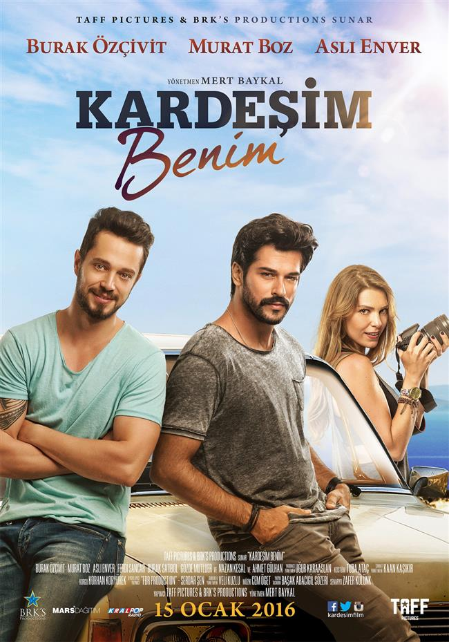 Kardeşim Benim   Başrollerinde Murat Boz, Burak Özçivit ve Aslı Enver'in olduğu filmin yönetmeni 2005 yapımı Pardon filminin de yönetmenliğini üstlenen Mert Baykal'dır.