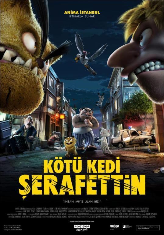 """Kötü Kedi Şerafettin    Muhtemelen senenin en çok ses getiren yapımı, Türk Sineması'nın tartışılmaz en iyi animasyonu ile Kötü Kedi Şerafettin oldu. Filmin yaratıcalarının uzun süre üzerinde çalıştığı animasyon bir """"yetişkin çizgi filmi"""" olarak karşımıza çıktı."""